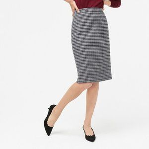 J. Crew Wool-blend pencil skirt in houndstooth